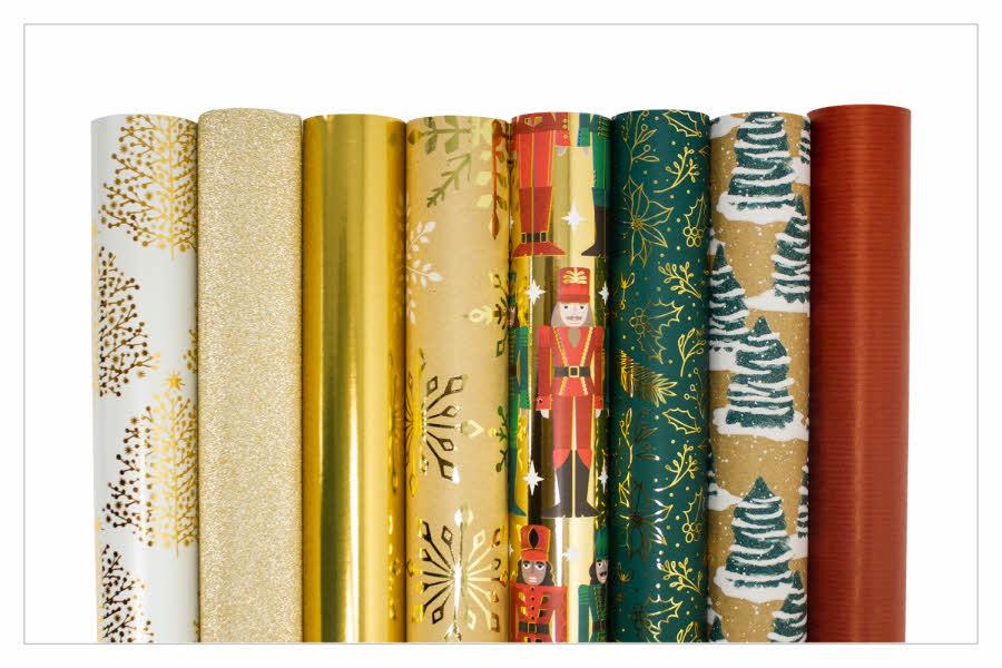 Gavepapir i ulike farger og mønster