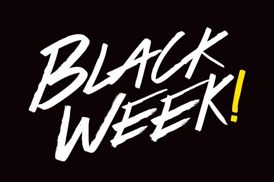 svart bakgrunn med hvit tekst Black Week