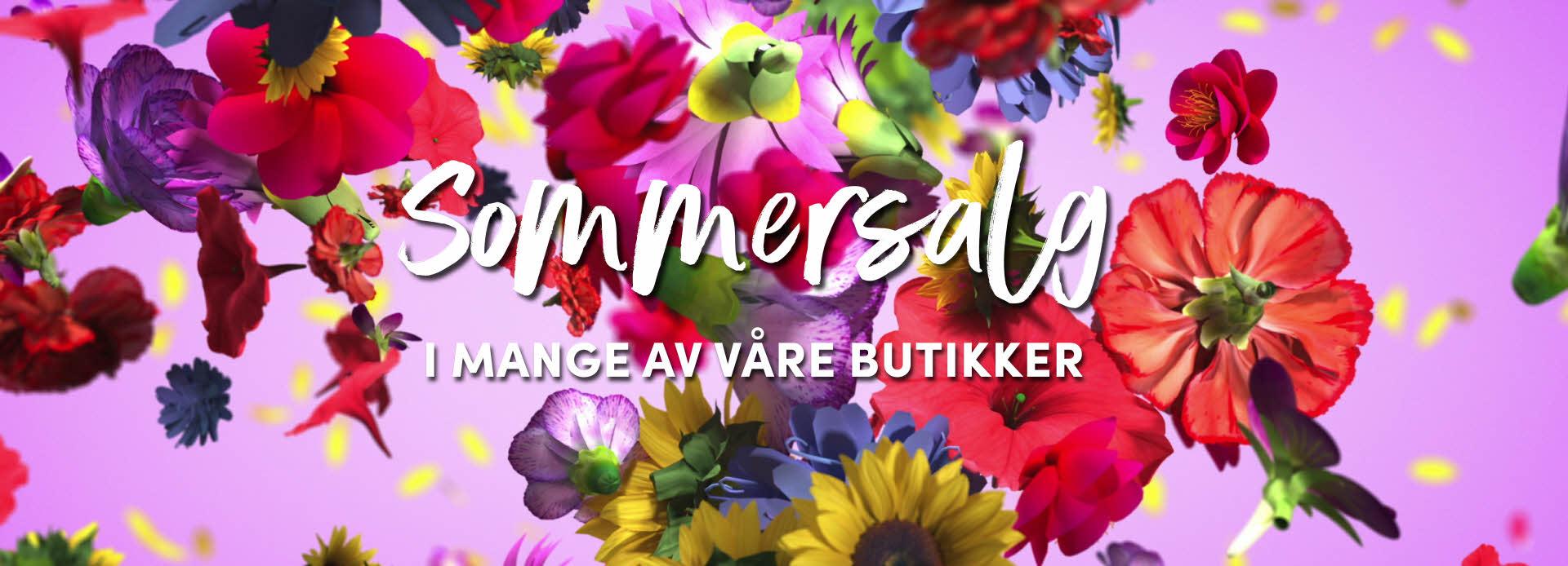 """Blomster i ulike farger på en lilla bakgrunn, og tekst """"sommersalg i mange av våre butikker"""" oppå"""