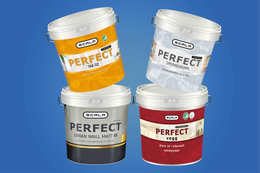 4 forskjellige bøtter med maling