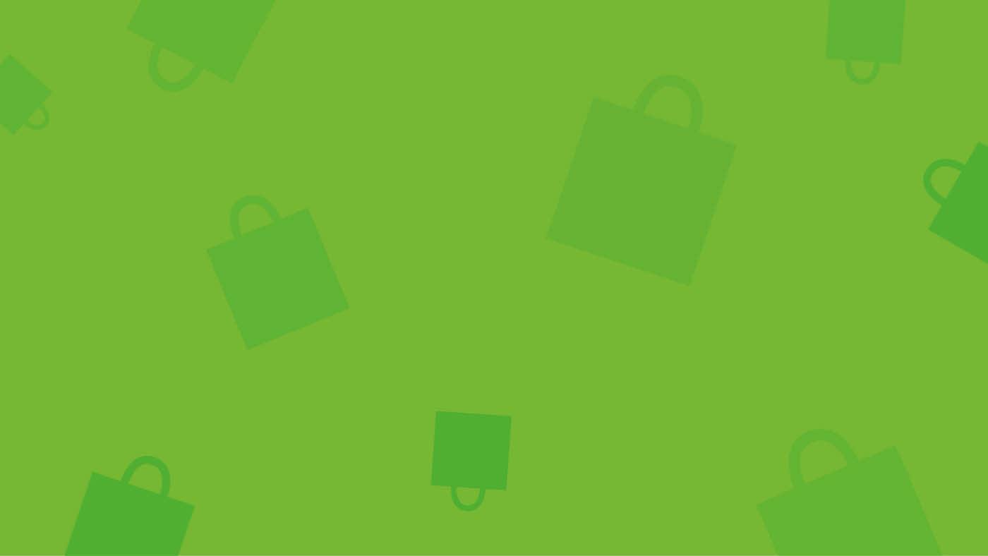 Lysegrønn bakgrunn med grønne illustrerte handleposer overalt i mørkere grønn