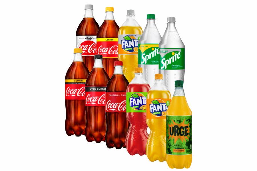 Utvalg brus - cola, fanta, sprite og urge