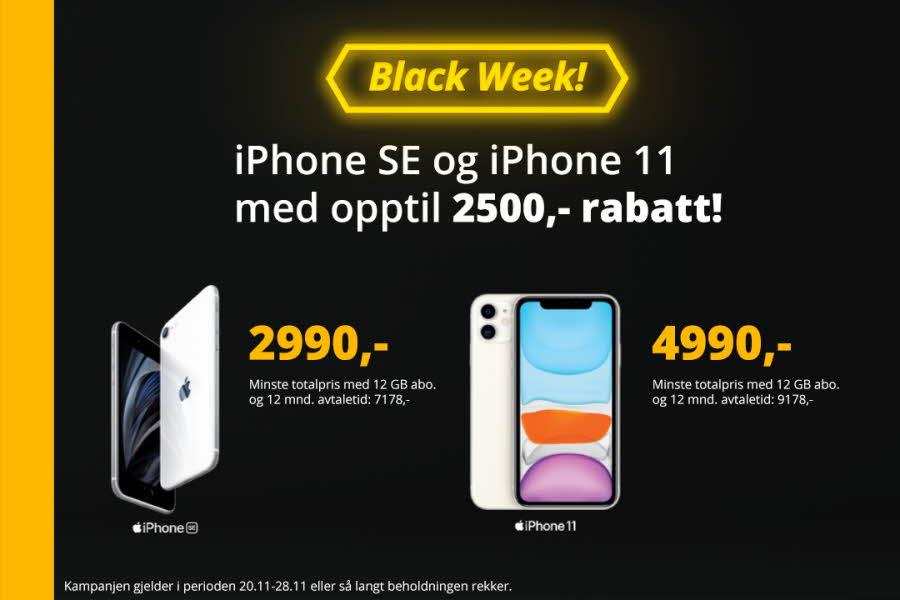 Annonse med tekst og bilde av telefon