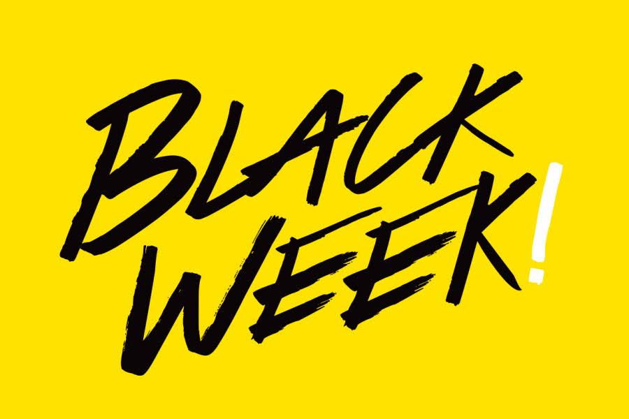 Gul bakgrunn med svart tekst Black Week