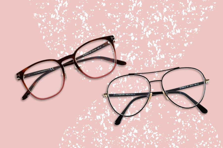 2 Brilleinnfatninger på pastellbakgrunn
