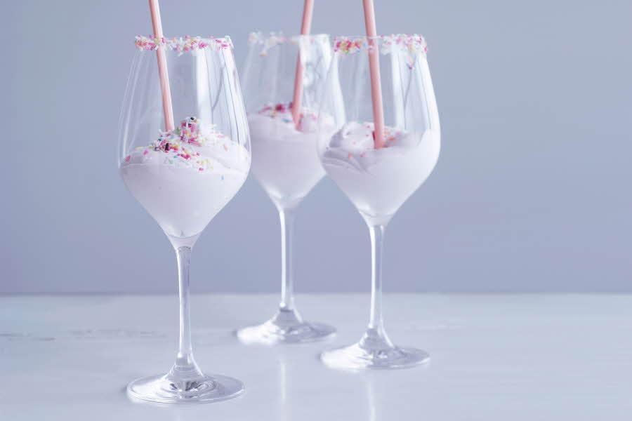 Dessert i Holmegaard glass