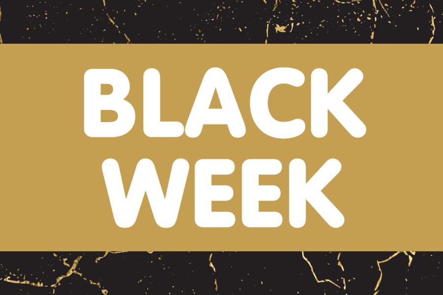 teksten black week på gull og svart bakgrunn