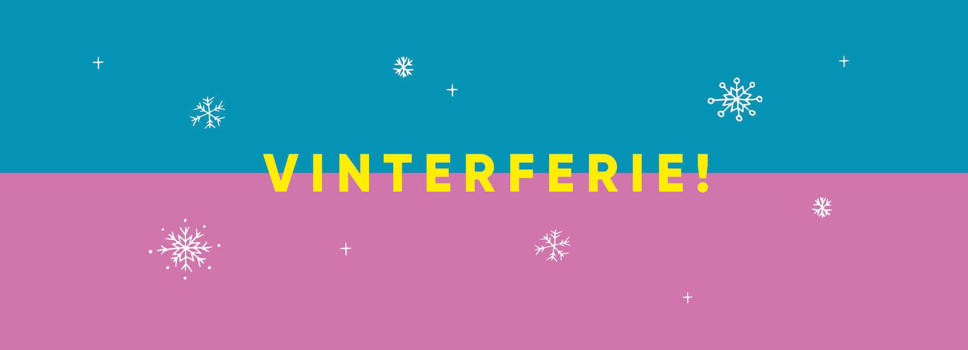 """blå og lilla bakgrunn med hvite snøfnugg og gul tekst """"vinterferie"""""""