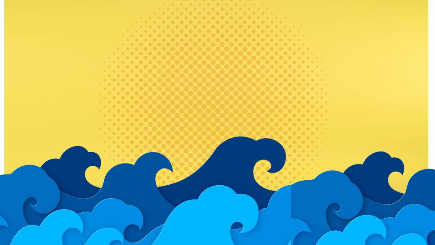 Tegning med gul bakgrunn, sjø og bølger