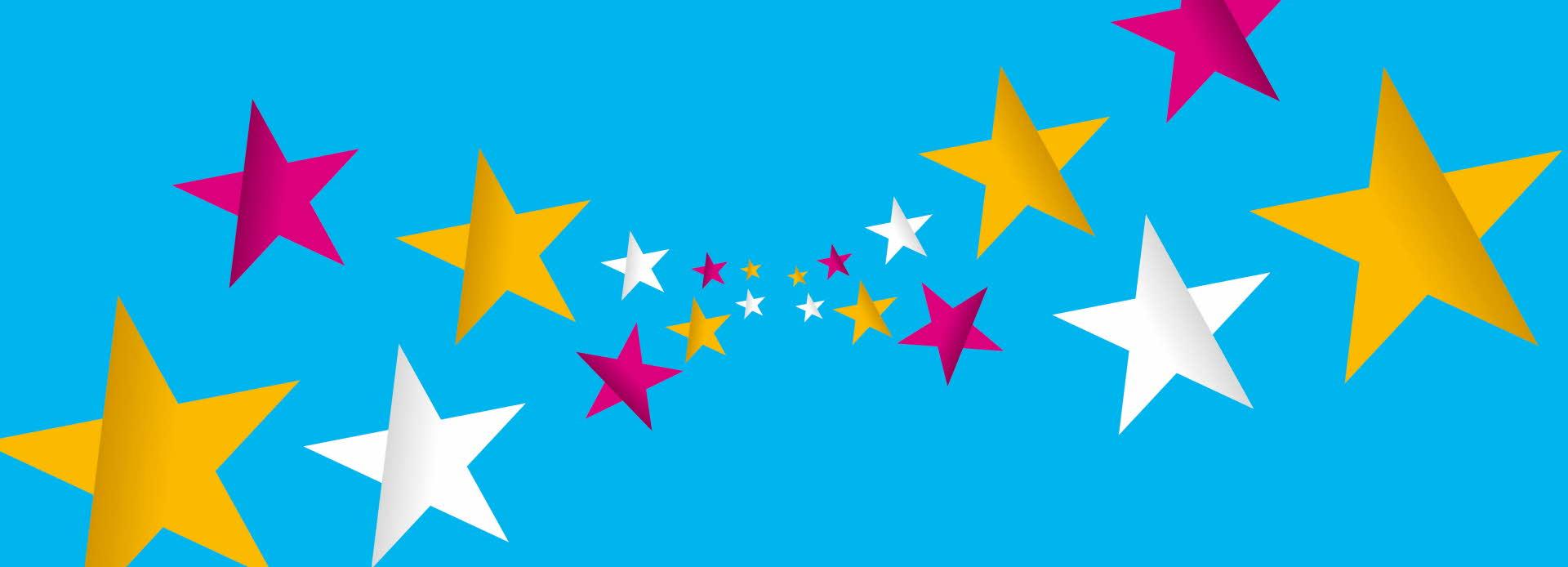 Blå, stripete bakgrunn med rosa, hvite og gule stjerner