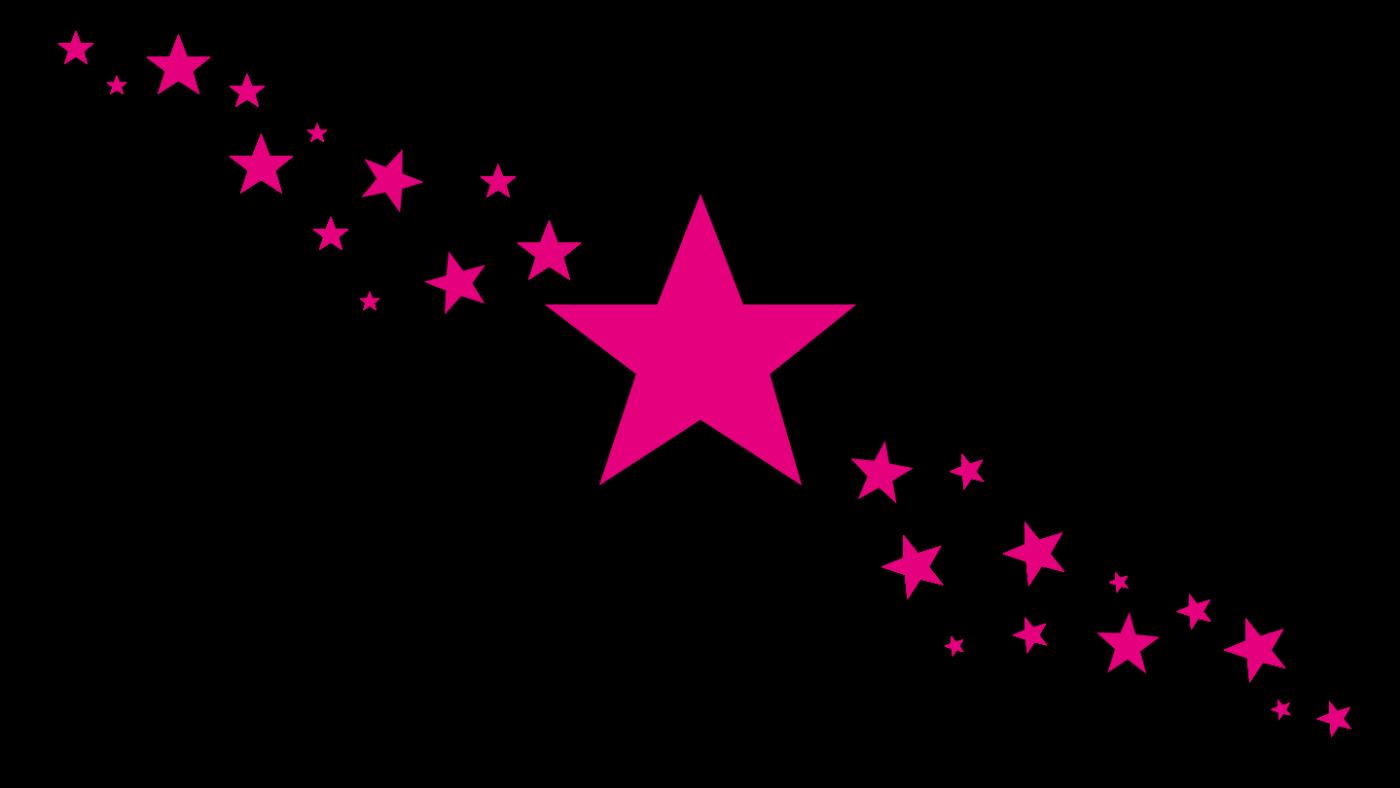 Svart bakgrunn med rosa stjerner i forskjellige størrelser