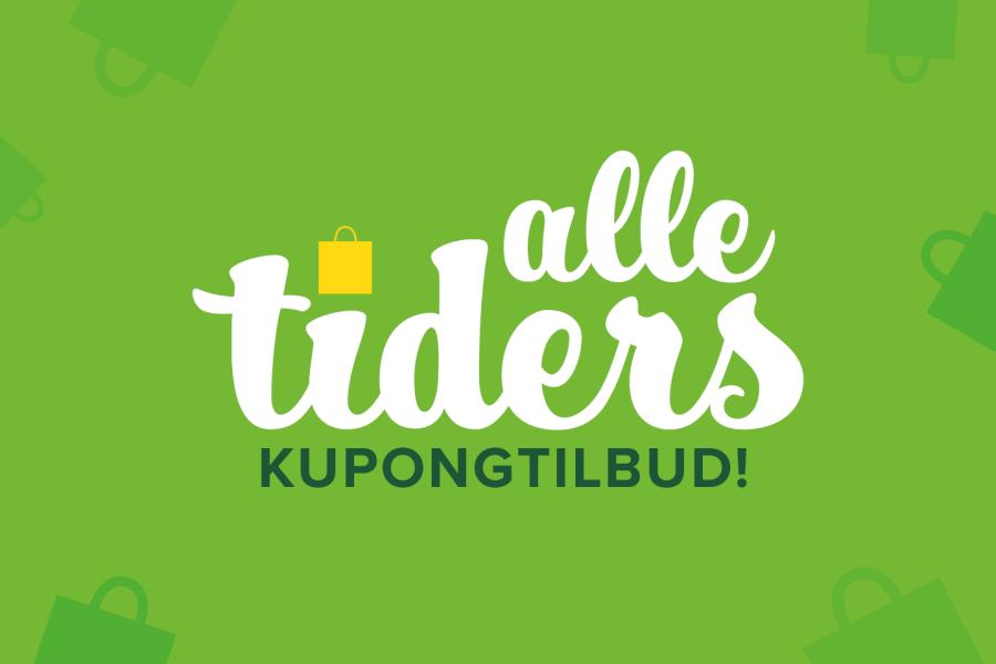 grønn bakgrunn med teksten alle tiders kupongtilbud