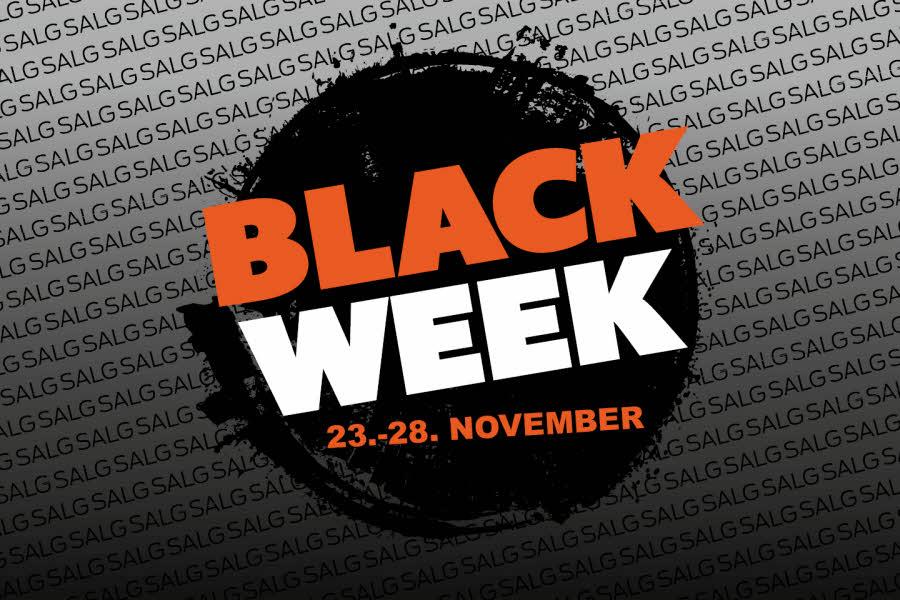 Mosseportens Black Week-logo. Svart runding med oransje og hvit tekst, Black Week 23.-28. november