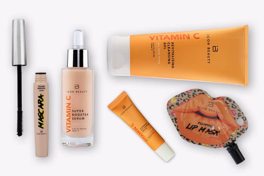 Produktbilder av makeup og hudvård