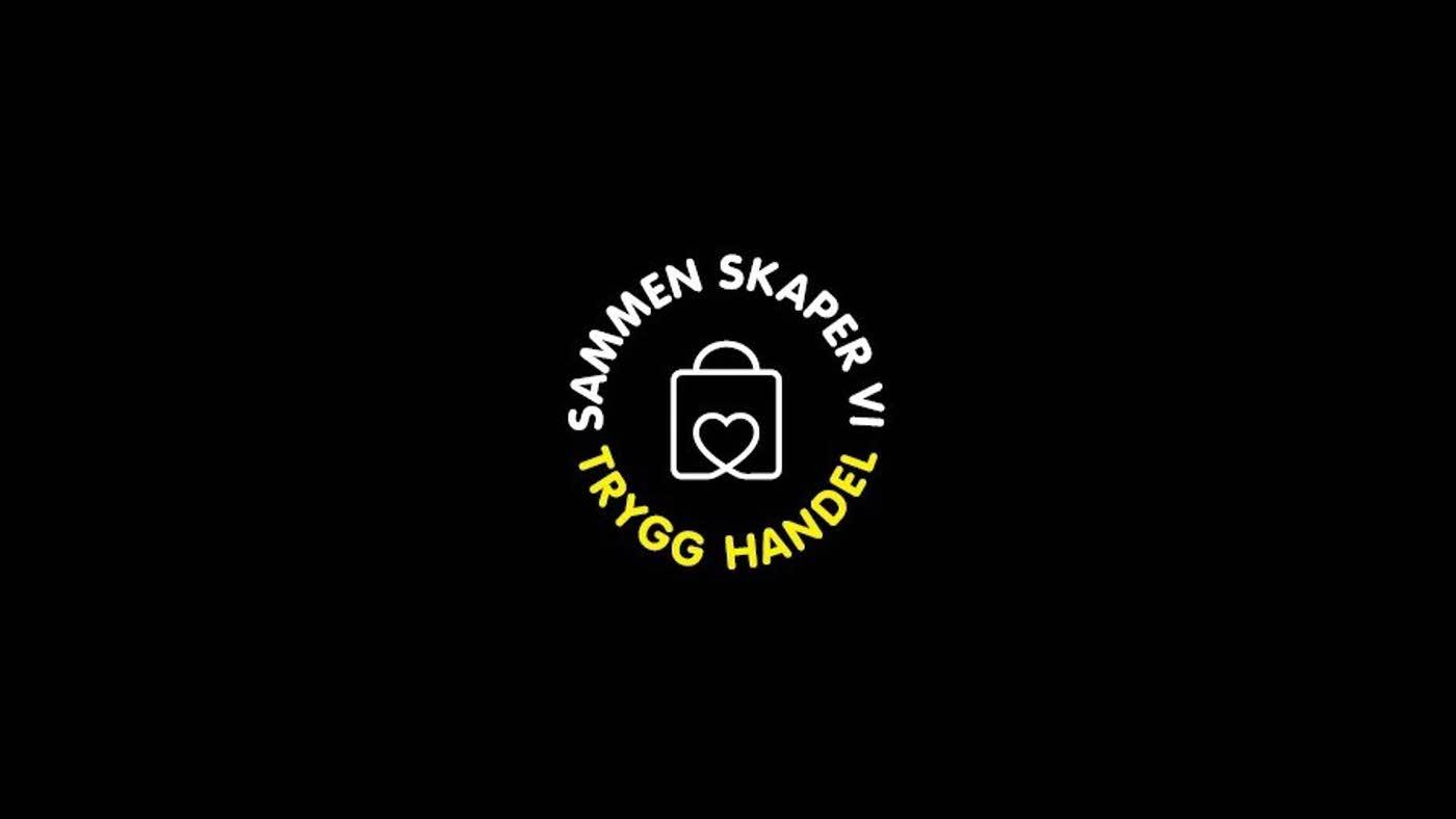 """Svart bakgrunn med logo """"Sammen skaper vi trygg handel"""""""