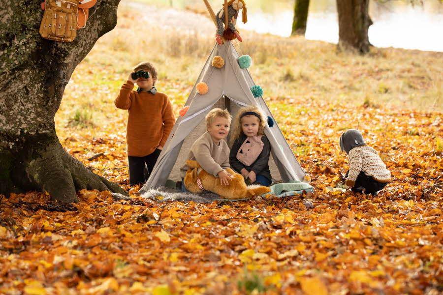 Barn som sitter ved et telt på oransje høstblader