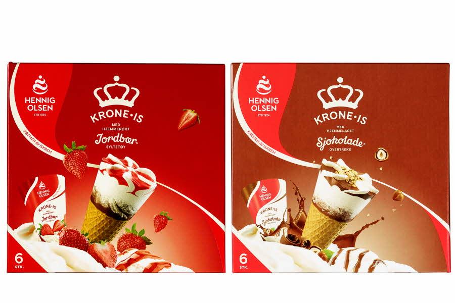 Krone-is i jordbær og sjokolade