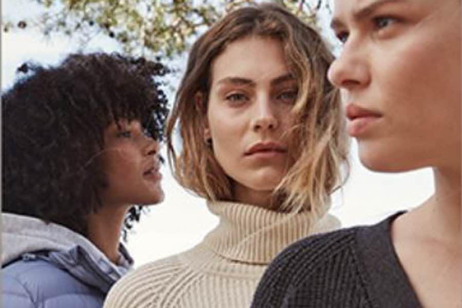 tre damer i klær fra Cubus