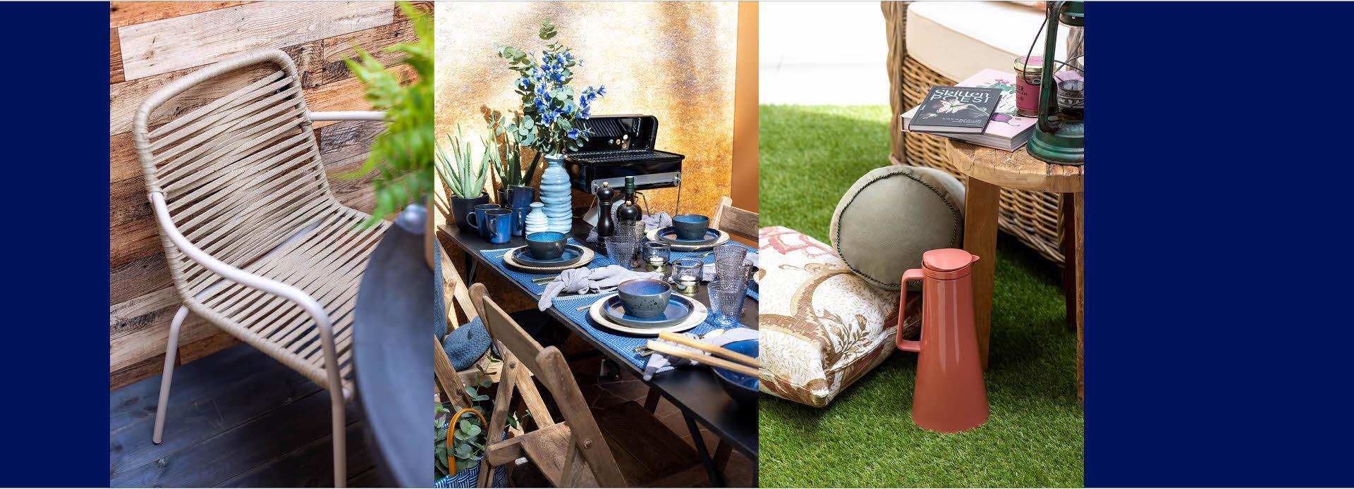 Tre bilder av ulike uteplasser, moderne, rustikt og romantisk