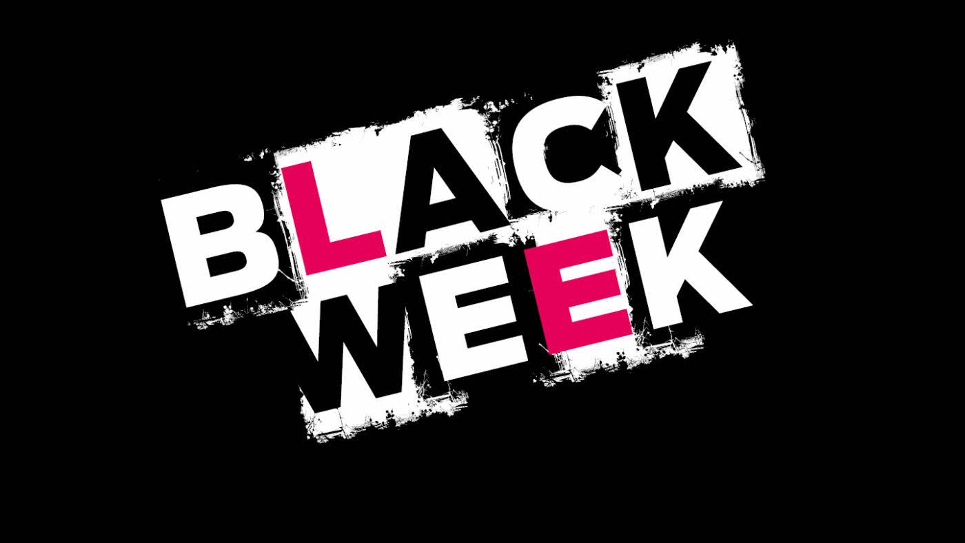 Svart bilde med tekst black week