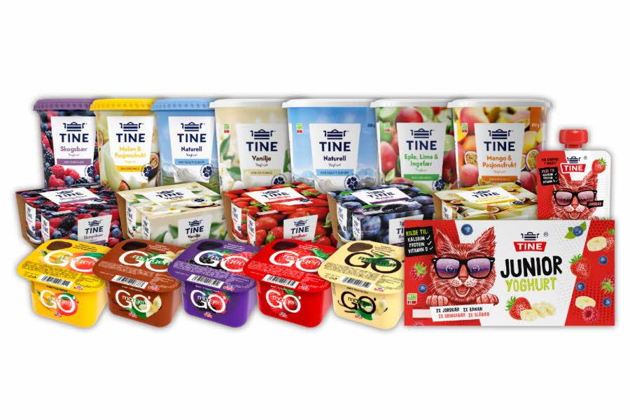 Stort utvalg yoghurt fra Tine