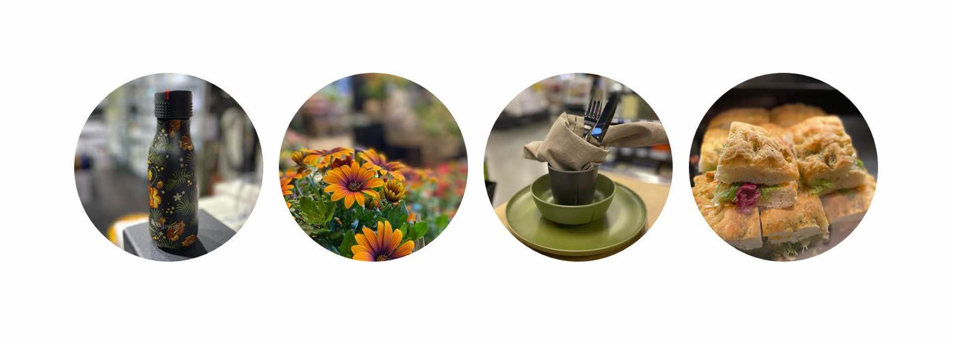 fire bilder av blomst, foccacia, drikkeflaske og melaminservise