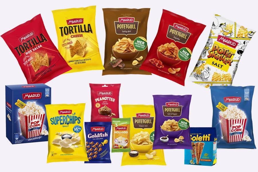 Produktbilder av snack fra Maarud