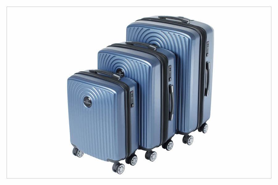 Blå kofferter i 3 forskjellige størrelser