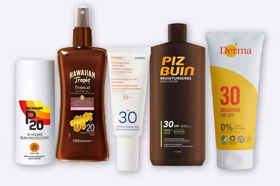 Flasker og tuber med solpleieprodukter