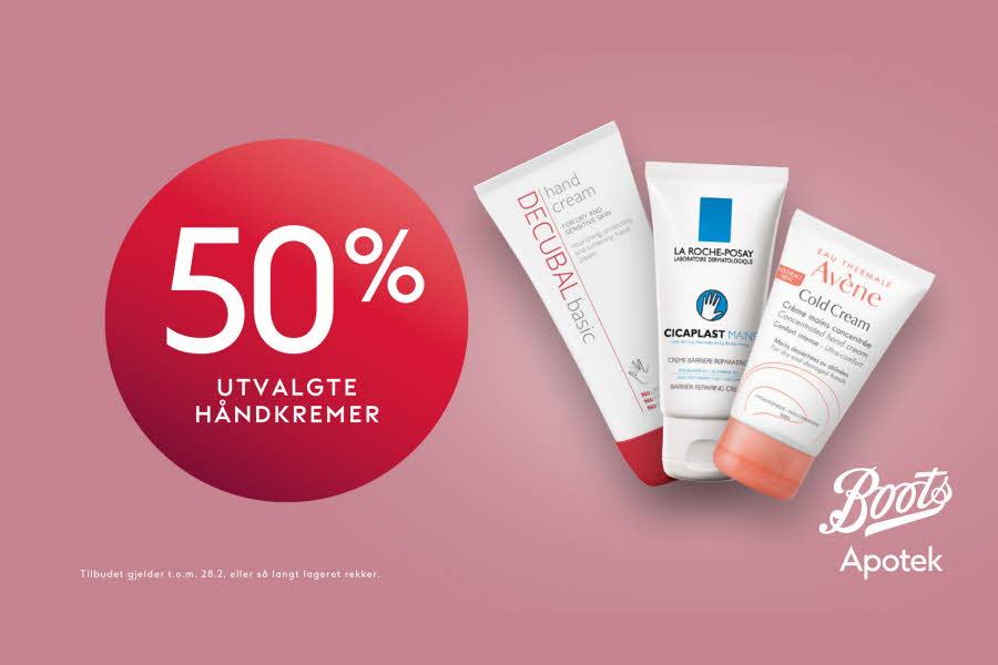"""Produktbilde av håndkremer med prisbombe """"50% på utvalgte håndkremer"""""""