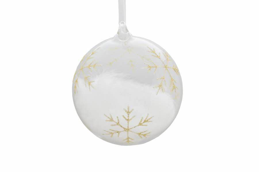 julekule i glass med gullmønster