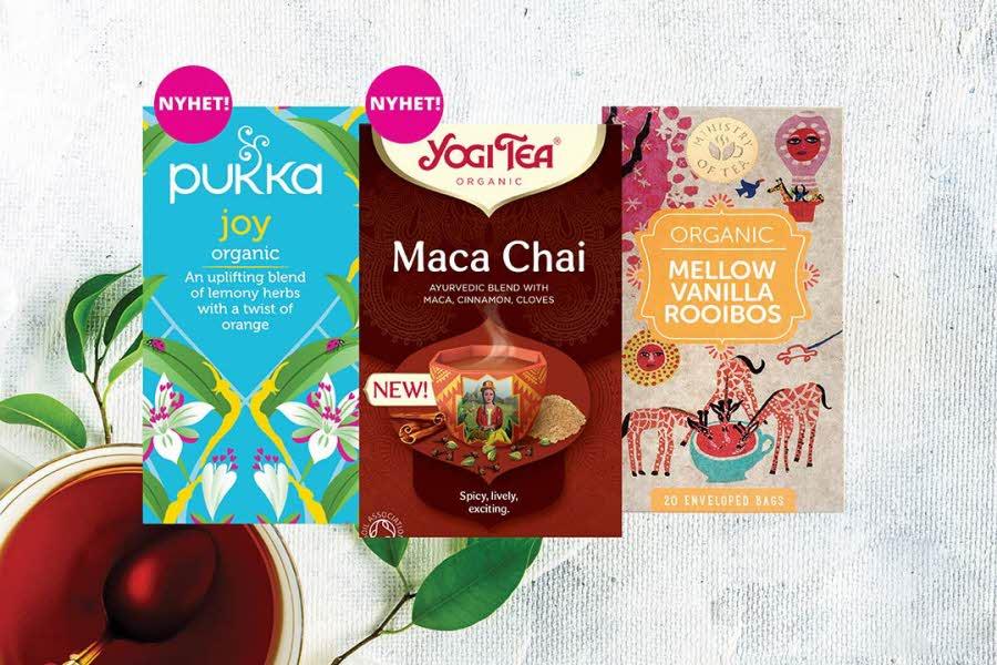 3 ulike pakker med te